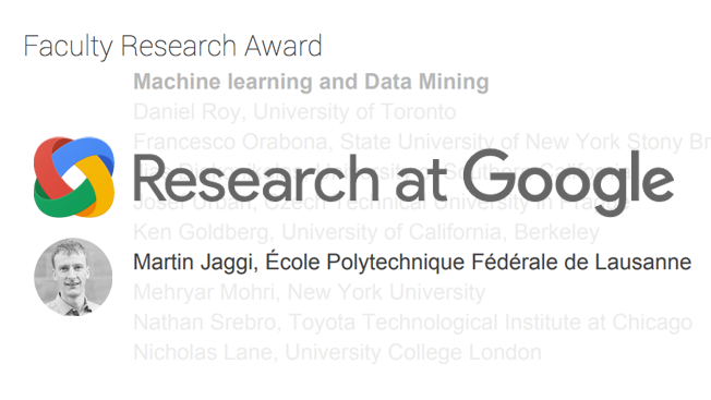 Martin Jaggi Wins 2016 Google Faculty Research Award