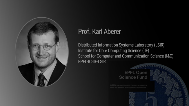 Picture of Karl Aberer and the open science fund graphic