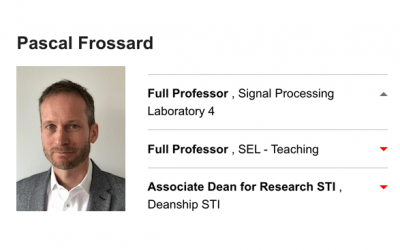 Pascal Frossard Named as Full Professor (STI)
